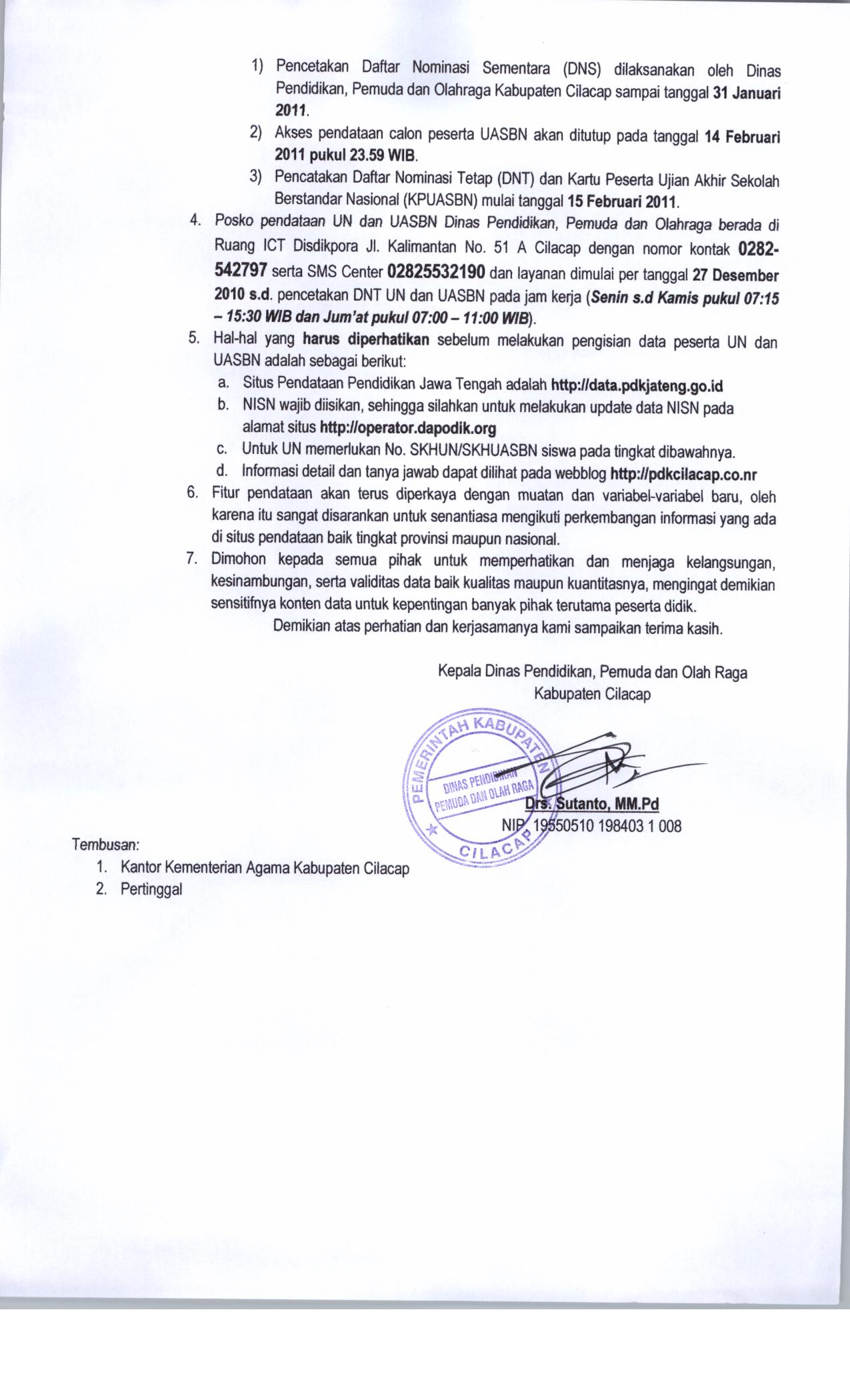 Surat Un Uasbn2 Dinas Pendidikan Dan Kebudayaan Kabupaten