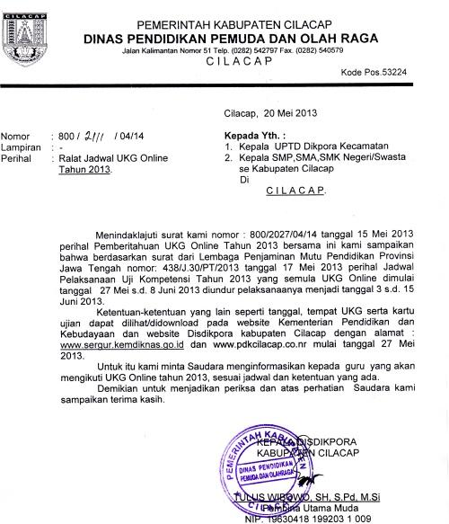 Surat Jadwal UKG 2013